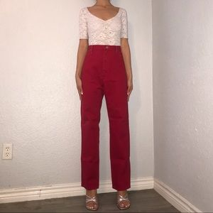Vintage Wrangler Red High Waisted Jeans. Size 32